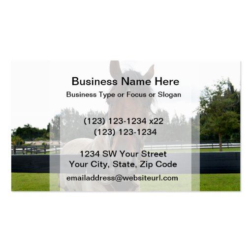 Horse head over fence head on business card
