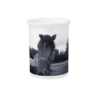 Horse head over fence head on bw beverage pitcher