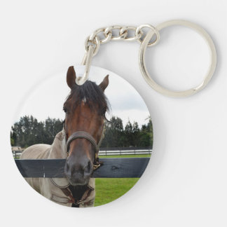 Horse head over fence head on keychain