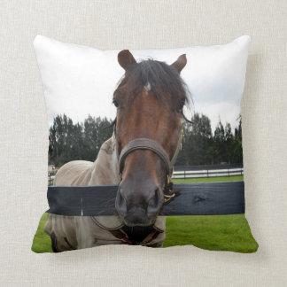 Horse head over fence head on throw pillow