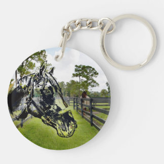 horse head over horse at fence keychain