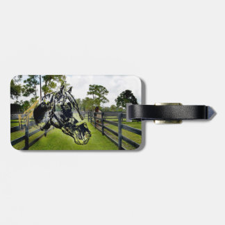 horse head over horse at fence luggage tags