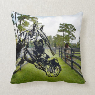 horse head over horse at fence throw pillow