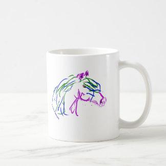 Horse head, purple and green artwork coffee mug