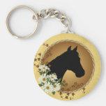Horse Head Silhouette Basic Round Button Keychain