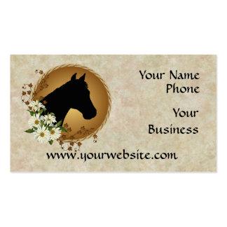 Horse Head Silhouette & Daisies Biz Cards