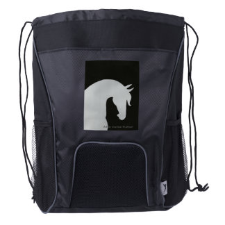 Horse Head Silhouette Drawstring Backpack Bag