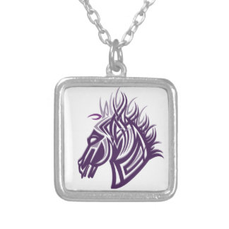 horse head silhouette square pendant necklace