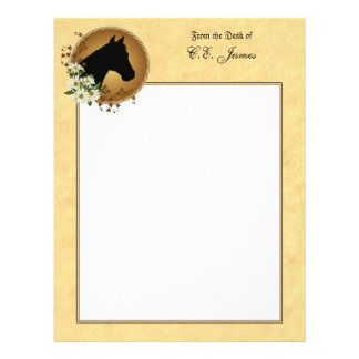 Horse Head Silhouette Stationary Personalized Letterhead