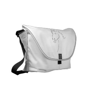 Horse head sketch messenger bag