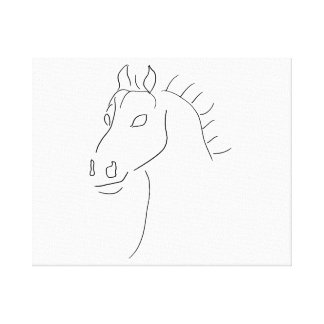 Horse head sketch stretched canvas prints