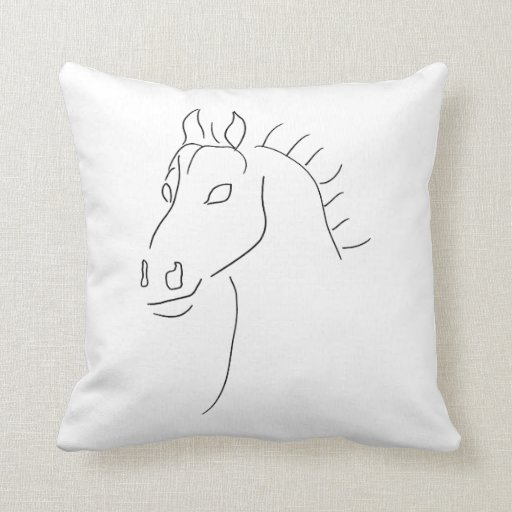Horse head sketch throw pillow