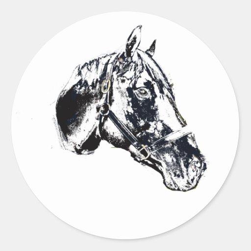 horse head stamp style classic round sticker