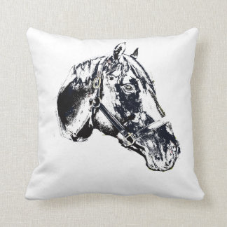 horse head stamp style pillow