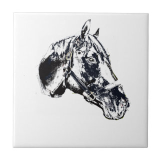 horse head stamp style small square tile