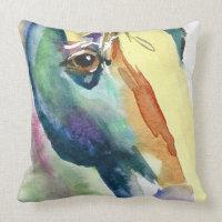 Horse Head Watercolor Throw Pillow