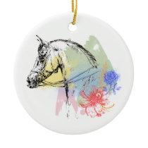 Horse Head Watercolors Ceramic Ornament