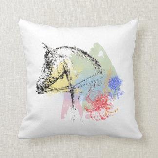 Horse Head Watercolors Throw Pillow