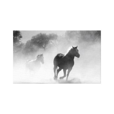 USA Themed Horse Herd | Black and White Canvas Print