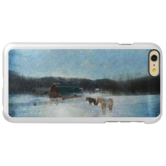 Horse Herd on a Ranch, Barns and Snow Painting Incipio Feather® Shine iPhone 6 Plus Case