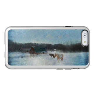 Horse Herd on a Ranch, Barns and Snow Painting Incipio Feather® Shine iPhone 6 Case