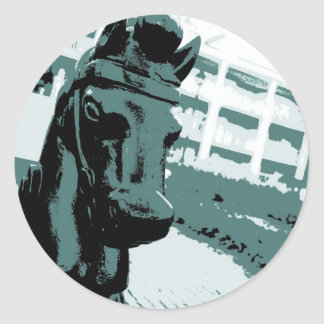 Horse Hitching Post Pop Art Classic Round Sticker