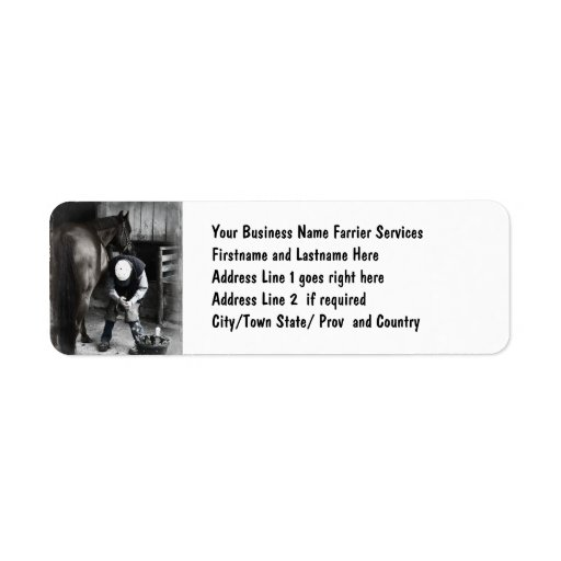Horse Hoof Trim & Farrier Services Custom Return Address Labels