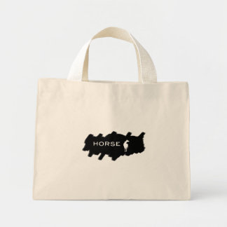 Horse - Horse and Horse Punched Background Mini Tote Bag