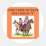 horse horseback rider riding classic round sticker