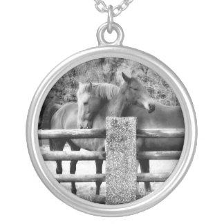 Horse Hugs Black and White Photo Round Pendant Necklace