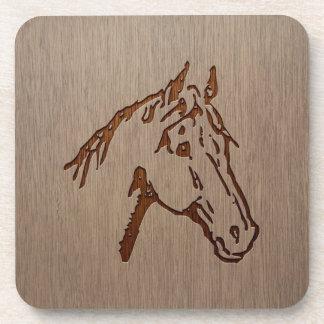 Horse illustration engraved on wood design beverage coaster