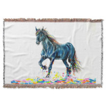 Horse in a Color Run Throw Blanket
