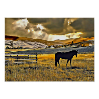 Horse in a Field Poster