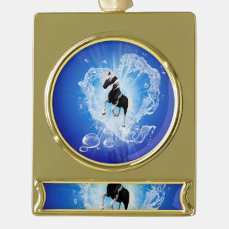 Horse in a heard made of water gold plated banner ornament