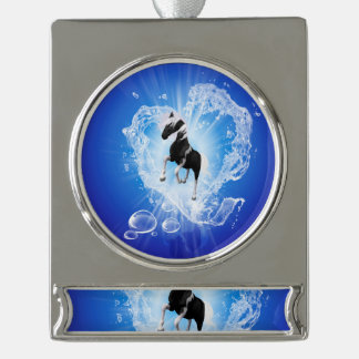 Horse in a heard made of water silver plated banner ornament