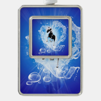 Horse in a heard made of water silver plated framed ornament