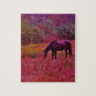 Horse in a Kaleidoscope Colored Field Puzzle