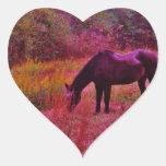 Horse in a Kaleidoscope Colored Field Heart Stickers
