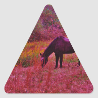 Horse in a Kaleidoscope Colored Field Triangle Sticker