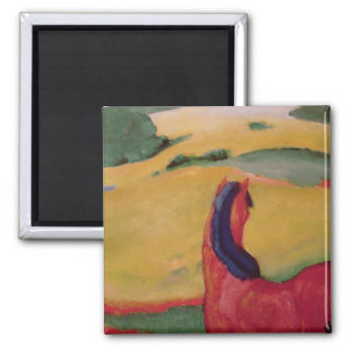 Horse in a landscape, 1910 2 inch square magnet