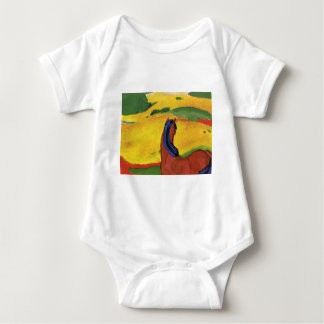 Horse in a landscape by Franz Marc Baby Bodysuit