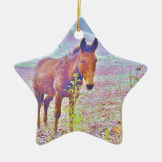 Horse in a Pastel RAINBOW PURPLE FIELD : add name Ceramic Ornament