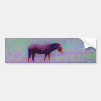 Horse IN A RAINBOW PURPLE FIELD : add name Bumper Sticker