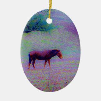 Horse IN A RAINBOW PURPLE FIELD : add name Ceramic Ornament