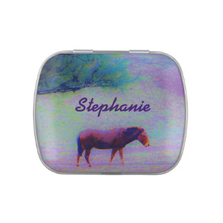 Horse IN A RAINBOW PURPLE FIELD : add name Jelly Belly Tin