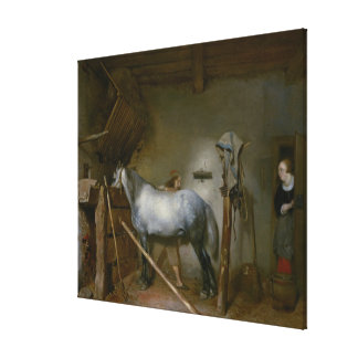 Horse in a Stable, c.1652-54 (oil on panel) Canvas Print