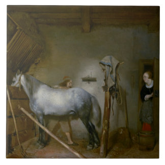 Horse in a Stable, c.1652-54 (oil on panel) Ceramic Tile