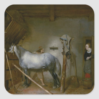 Horse in a Stable, c.1652-54 (oil on panel) Square Sticker