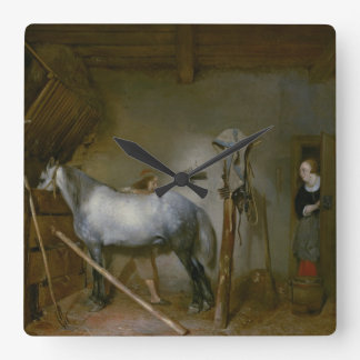 Horse in a Stable, c.1652-54 (oil on panel) Square Wall Clock