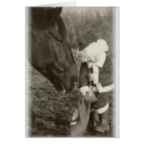 Horse in Anticipation and Child Santa Card